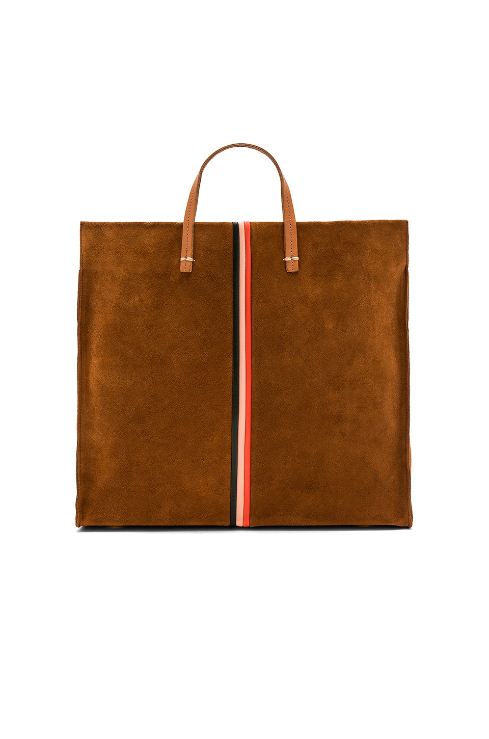 Clare V. Supreme Simple Tote in Chestnut & Mini Stripe