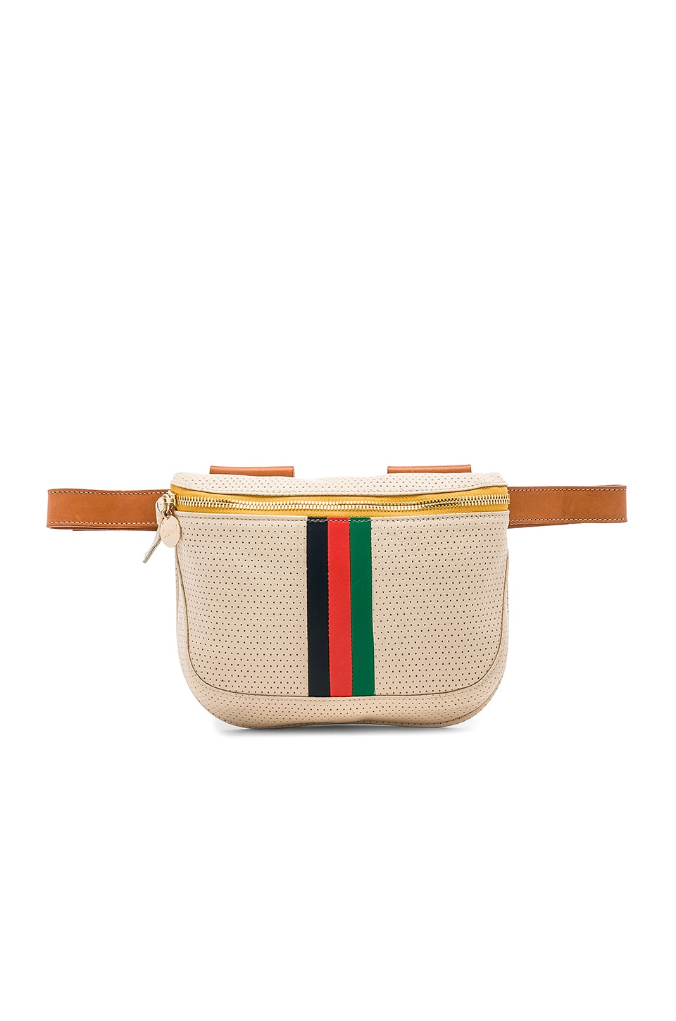 Clare V. Fanny Pack Desert Stripe in Cream Micro Perforated Stripes