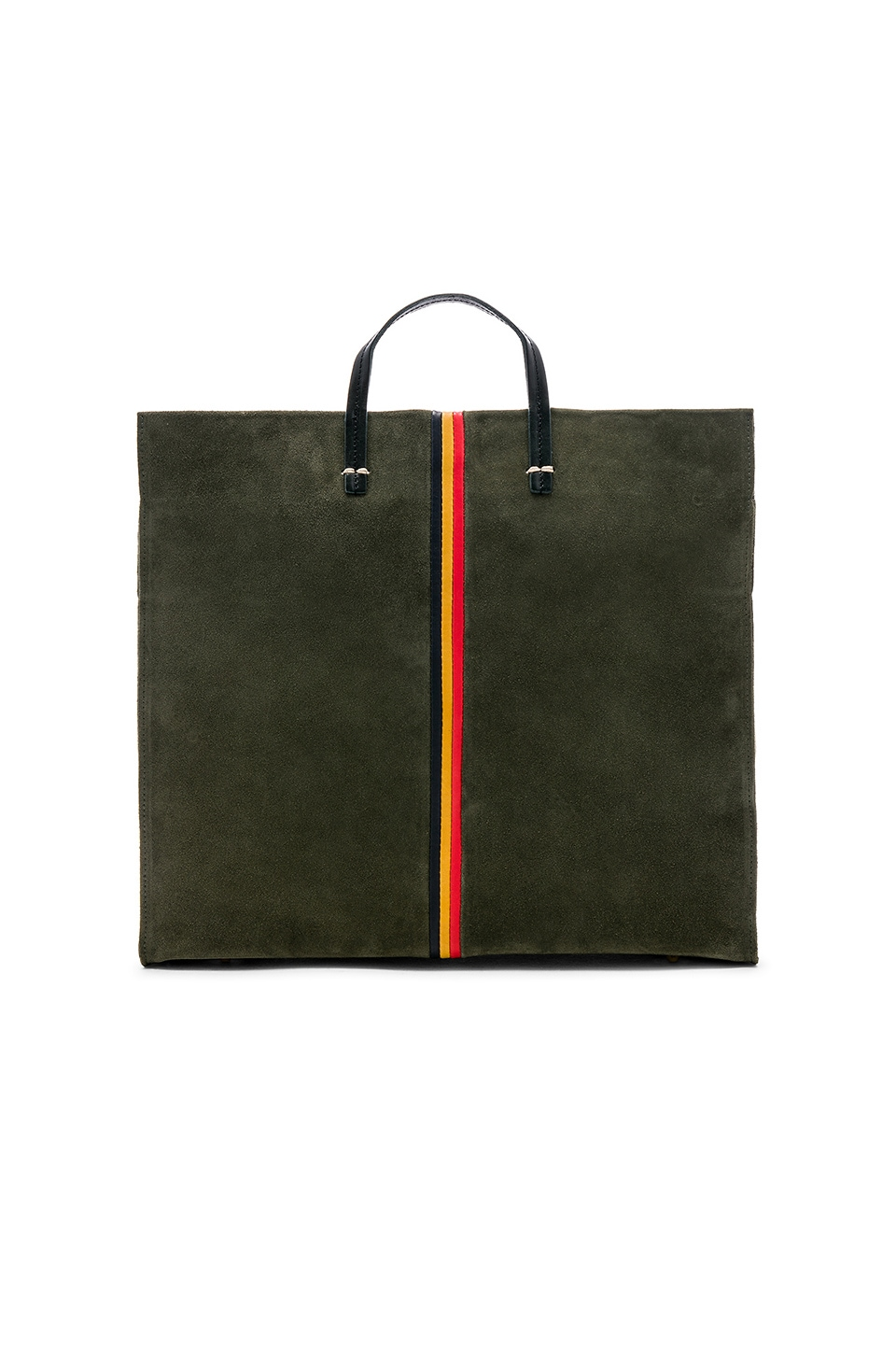 Clare V. Simple Tote in Army Suede with Navy, Marigold & Red