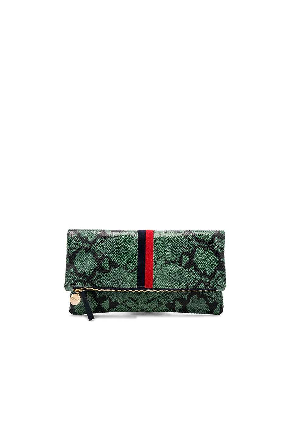 Clare V. Foldover Clutch in Green Snake with Navy & Red