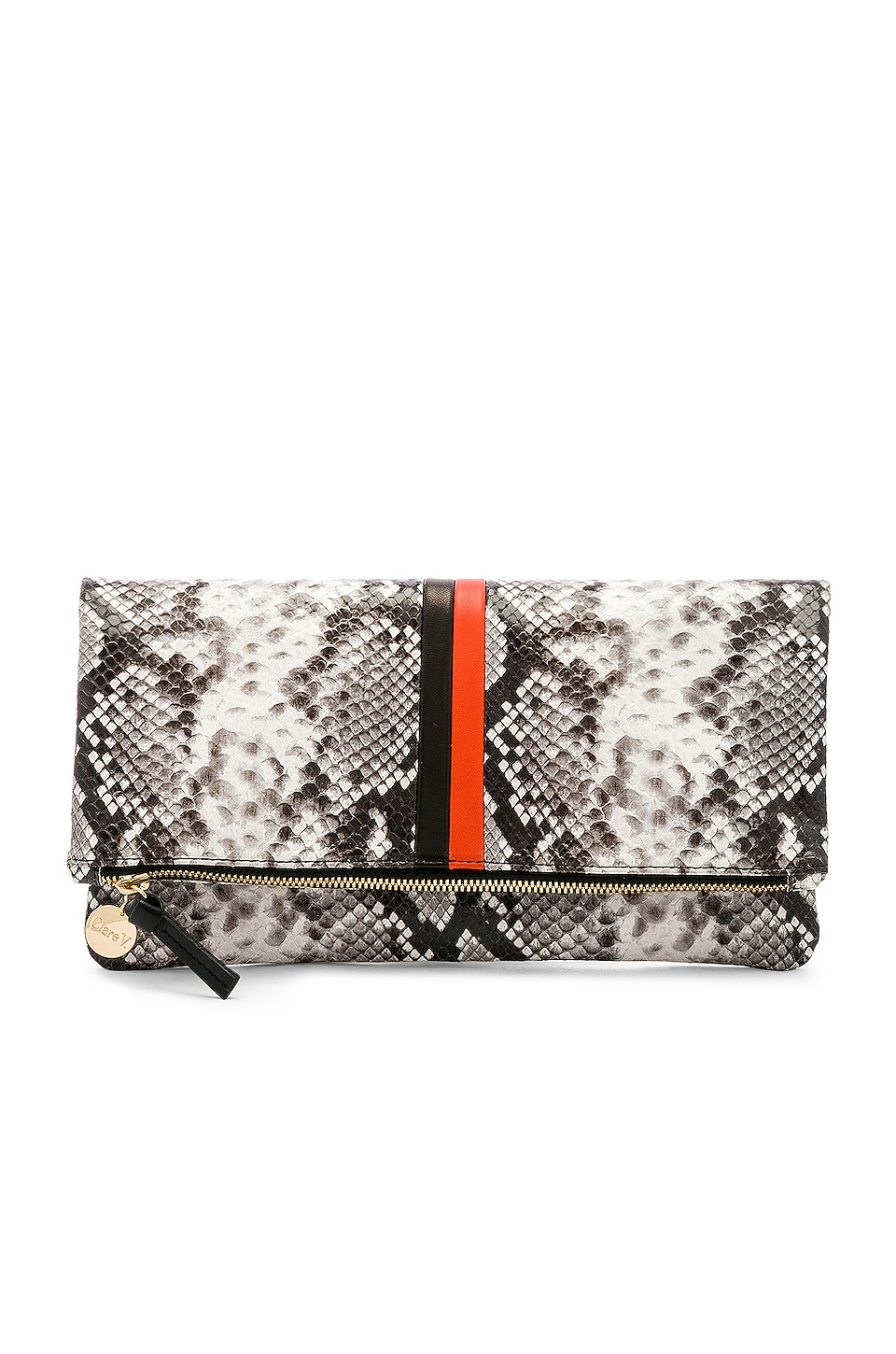 Clare V. Foldover Clutch in Python, Black & Poppy
