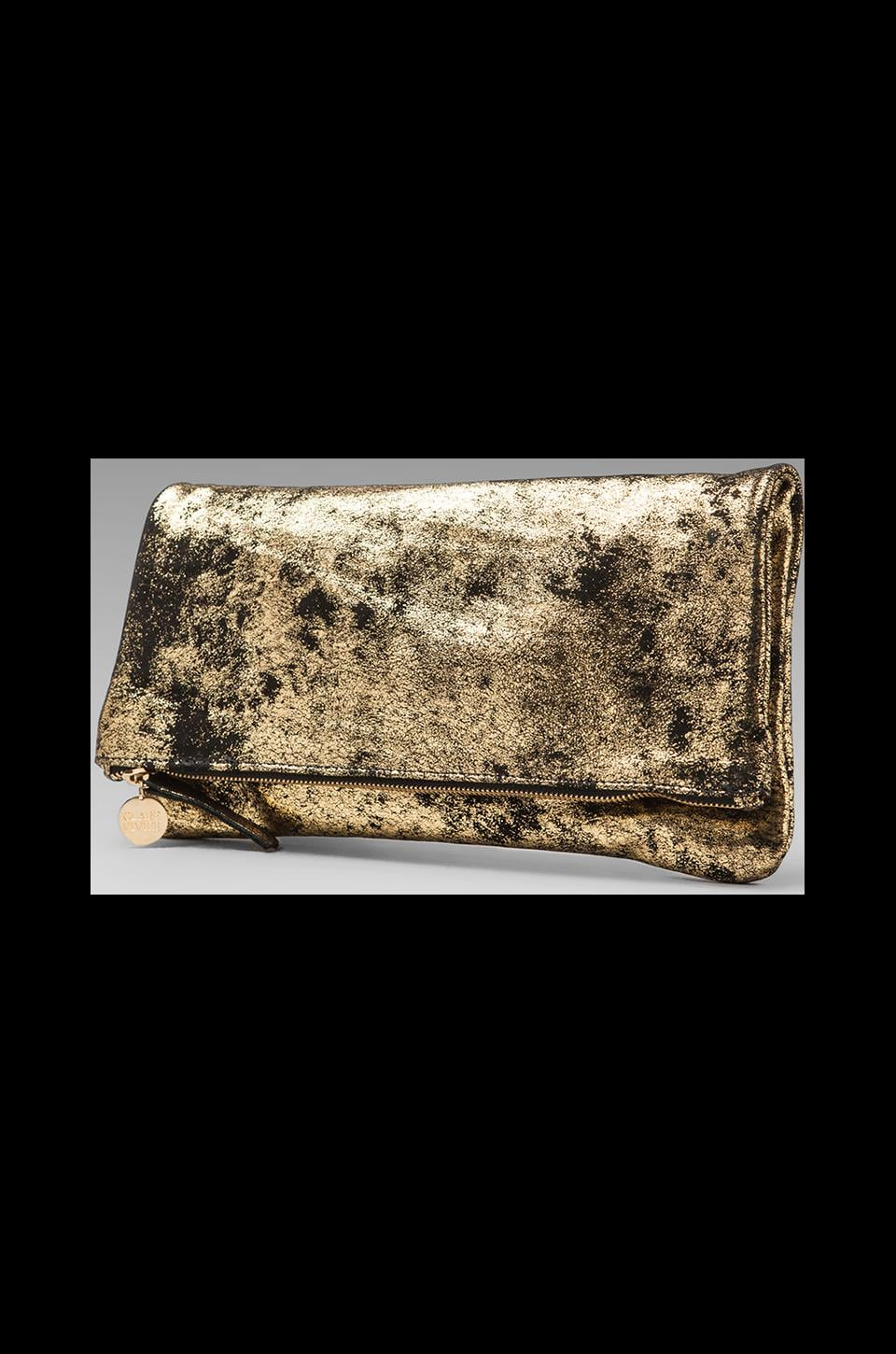 Clare V. Foldover Clutch in Black and Gold