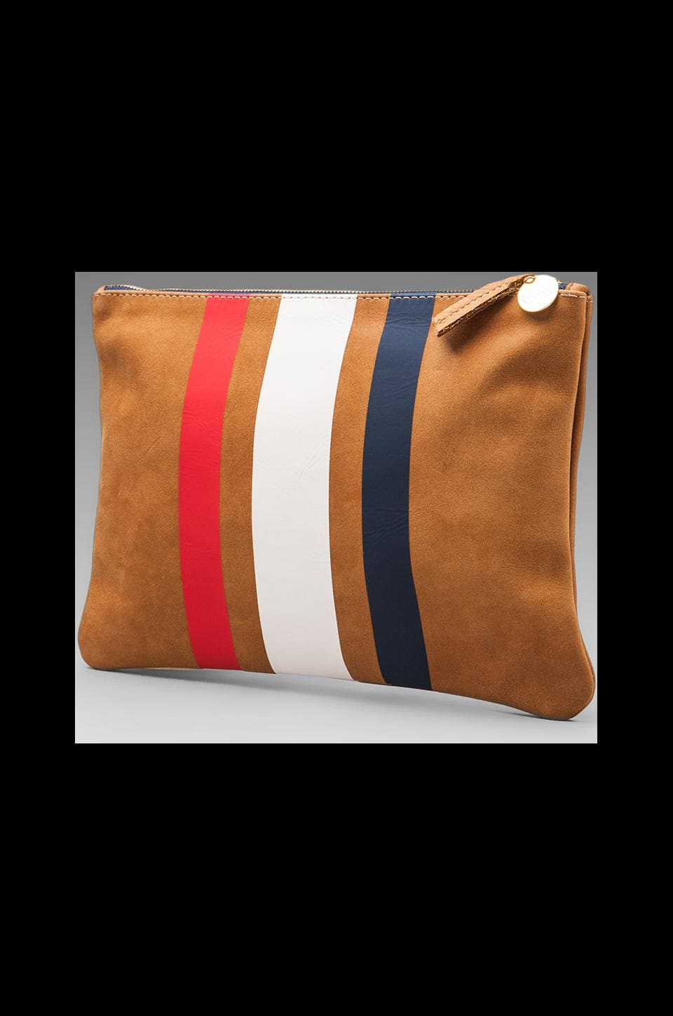 Clare V. 3 Stripe Flat Clutch in Red/White/Blue