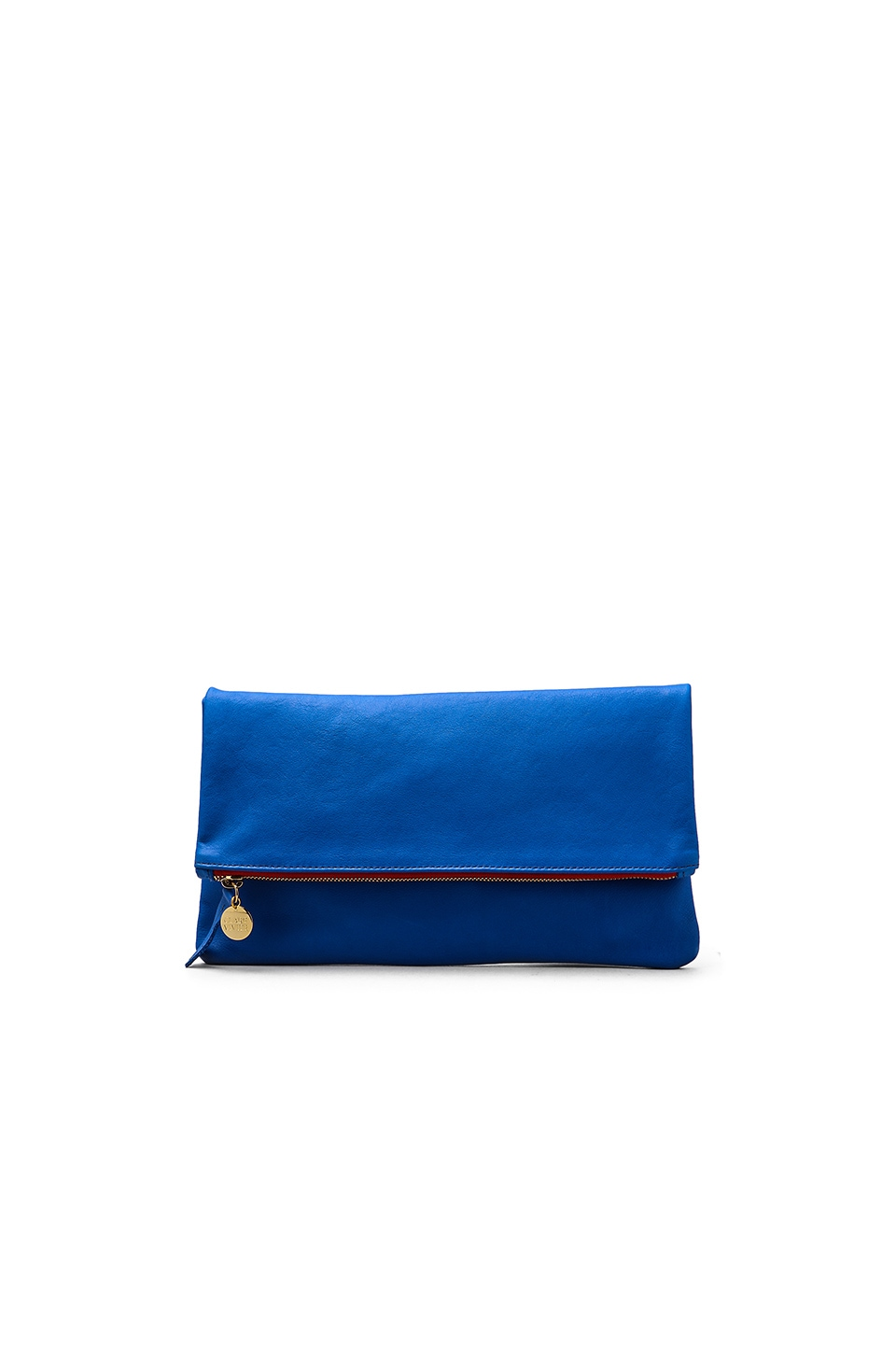 Clare V. Foldover Maison Clutch in Cobalt