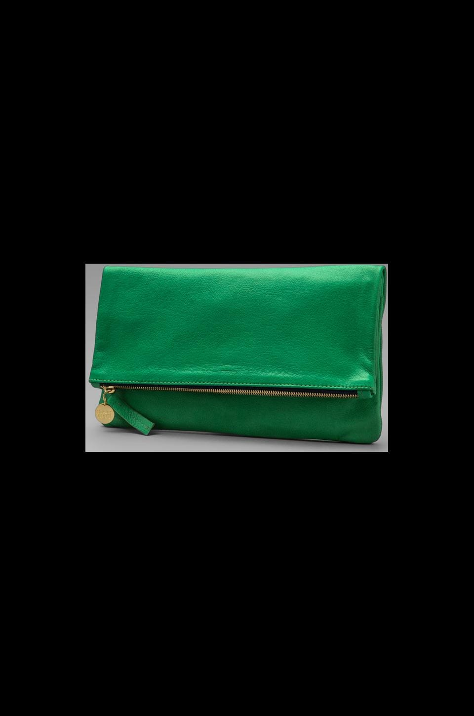 Clare V. Foldover Maison Clutch in Green Apple