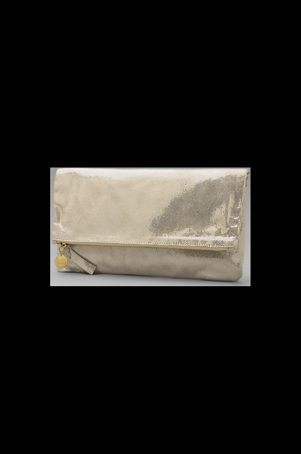 Clare V. Foldover Maison Clutch in Taupe Sequins