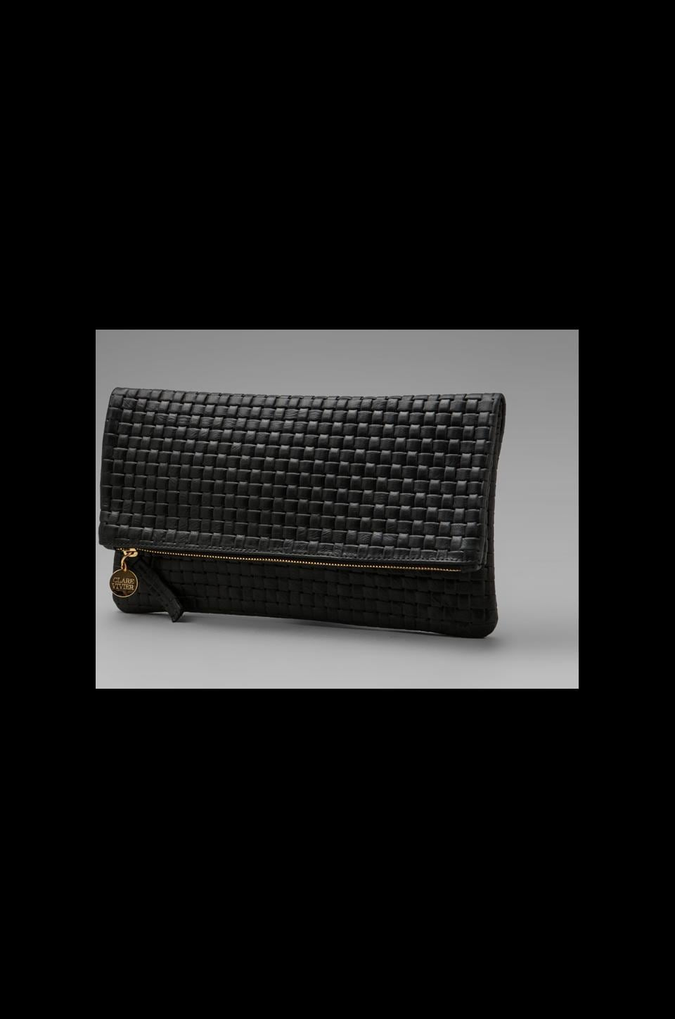 Clare V. Foldover Deluxe Clutch in Black Basket Weave