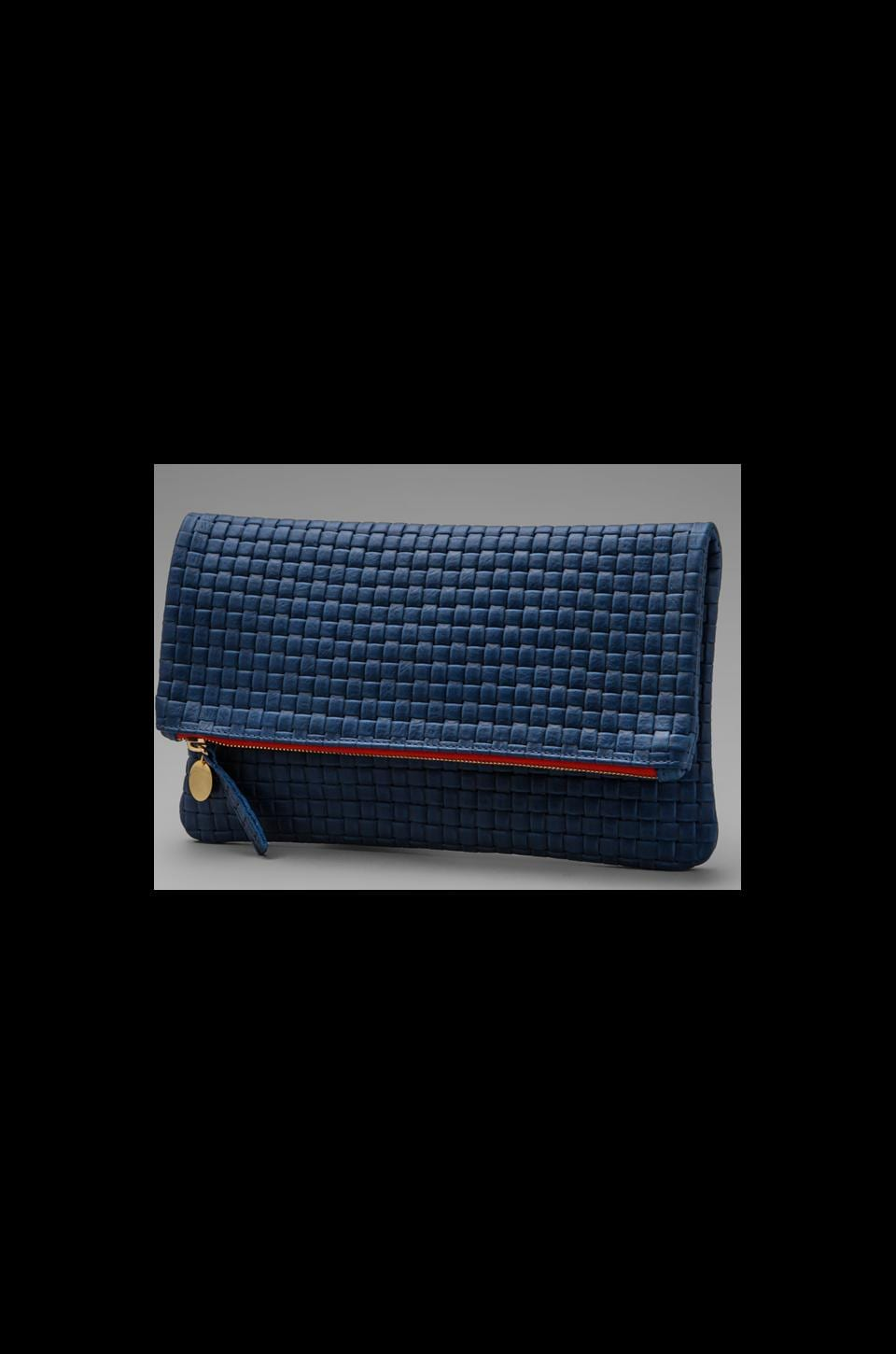 Clare V. Foldover Deluxe Clutch in Royal Blue Basket Weave