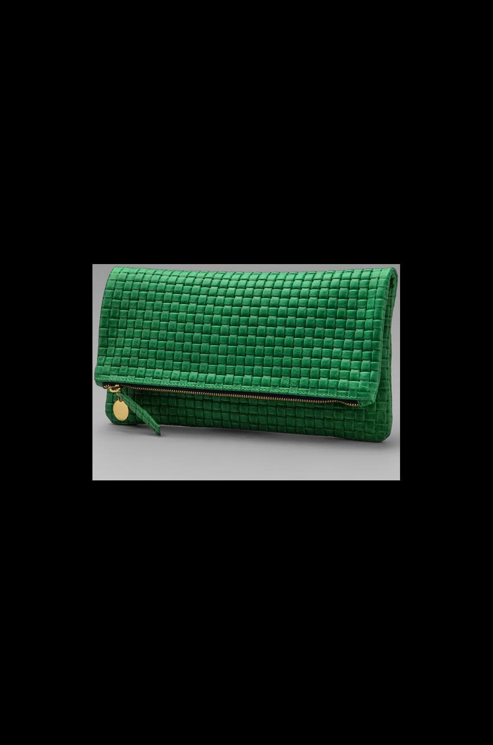 Clare V. Deluxe Clutch in Kelly Green Basket Weave