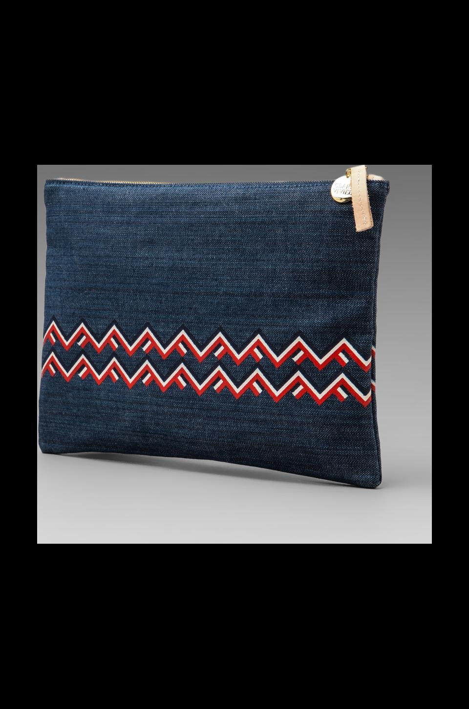 Clare V. Maison Canvas Flat Clutch in Denim & Chevron Print