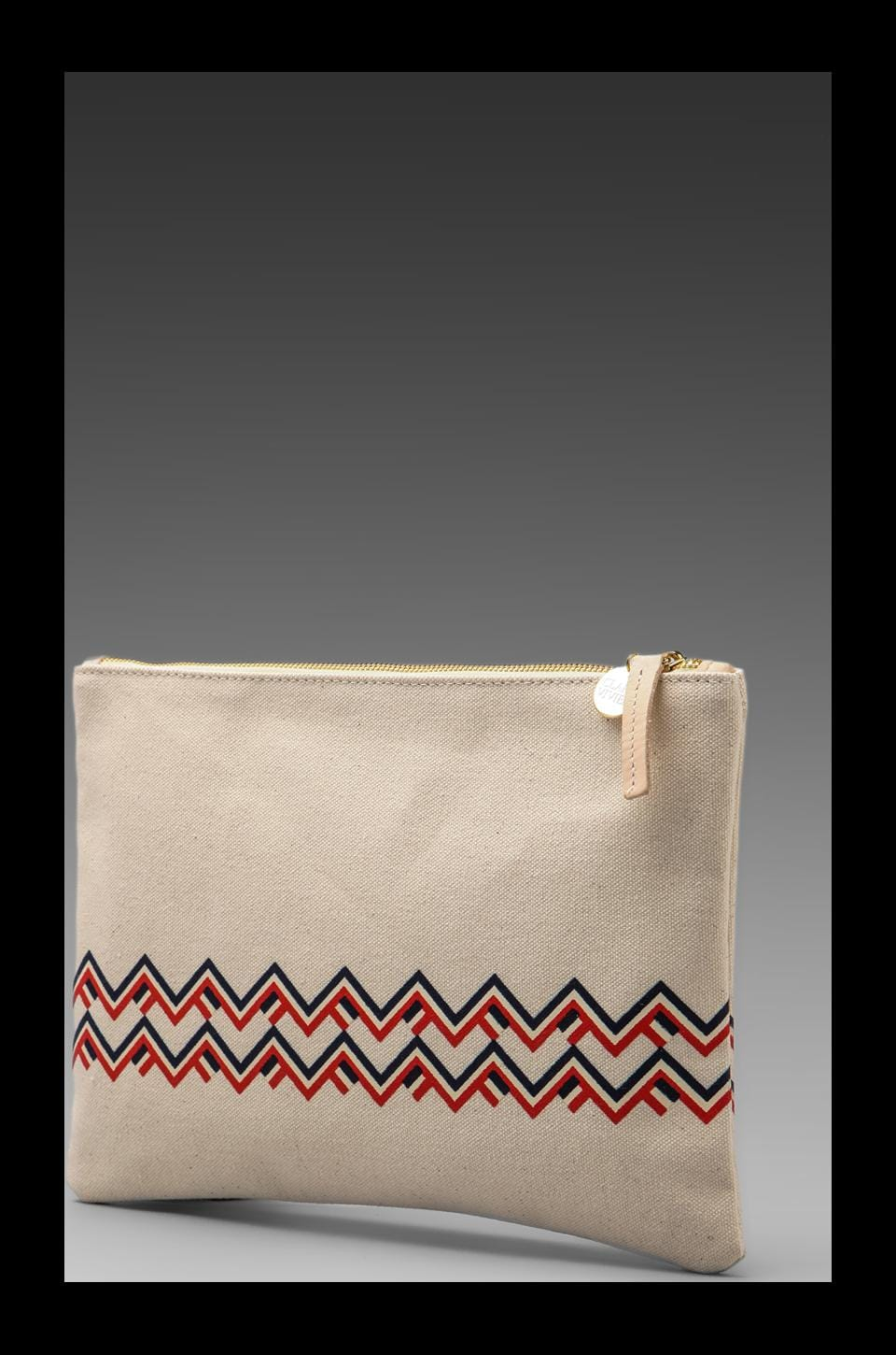 Clare V. Maison Canvas Flat Clutch in Canvas & Chevron Print