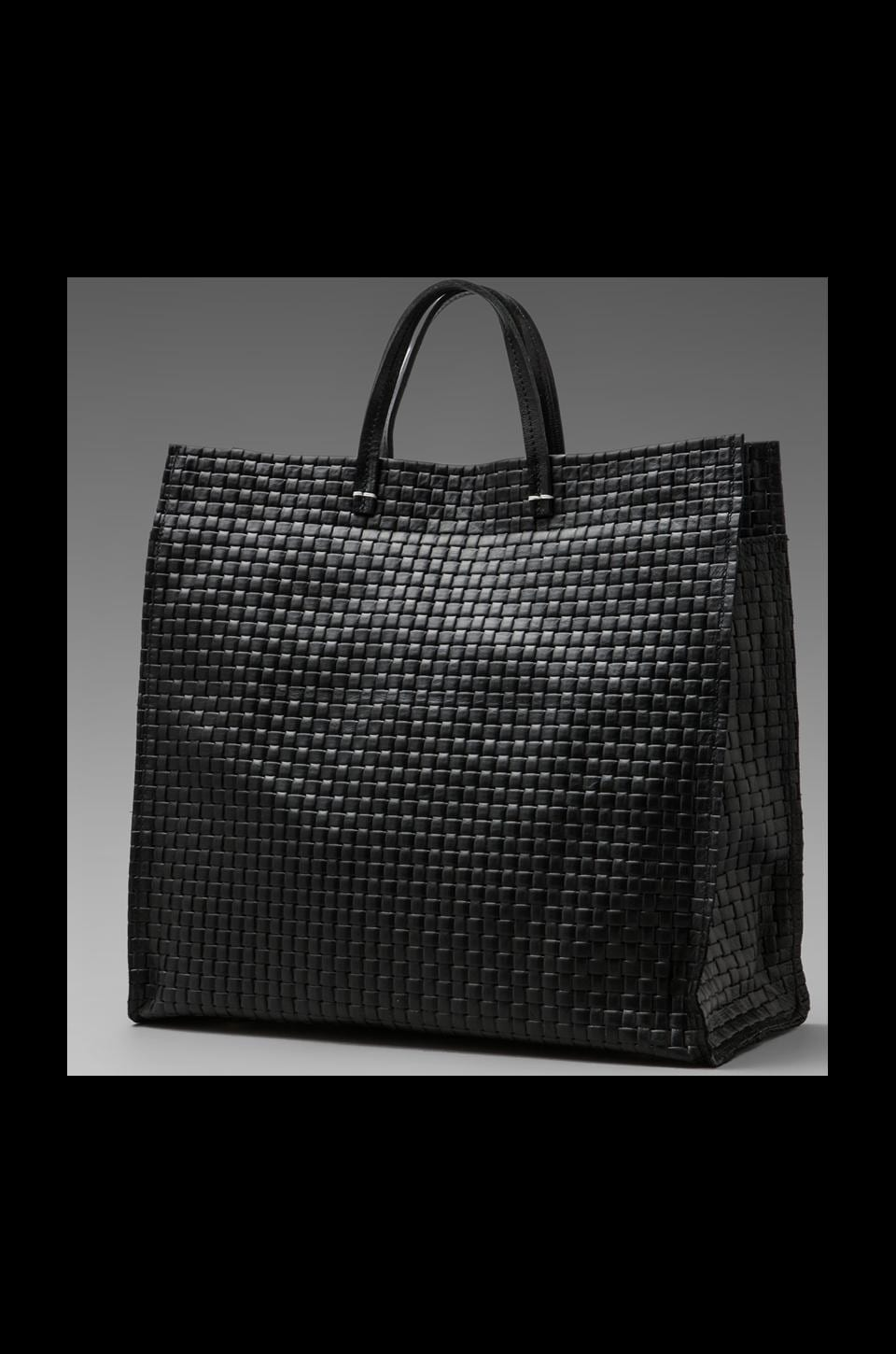 Clare V. Simple Tote in Black Basket Weave