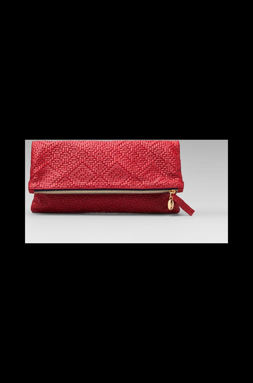 Clare V. Foldover Clutch in Red/Navy
