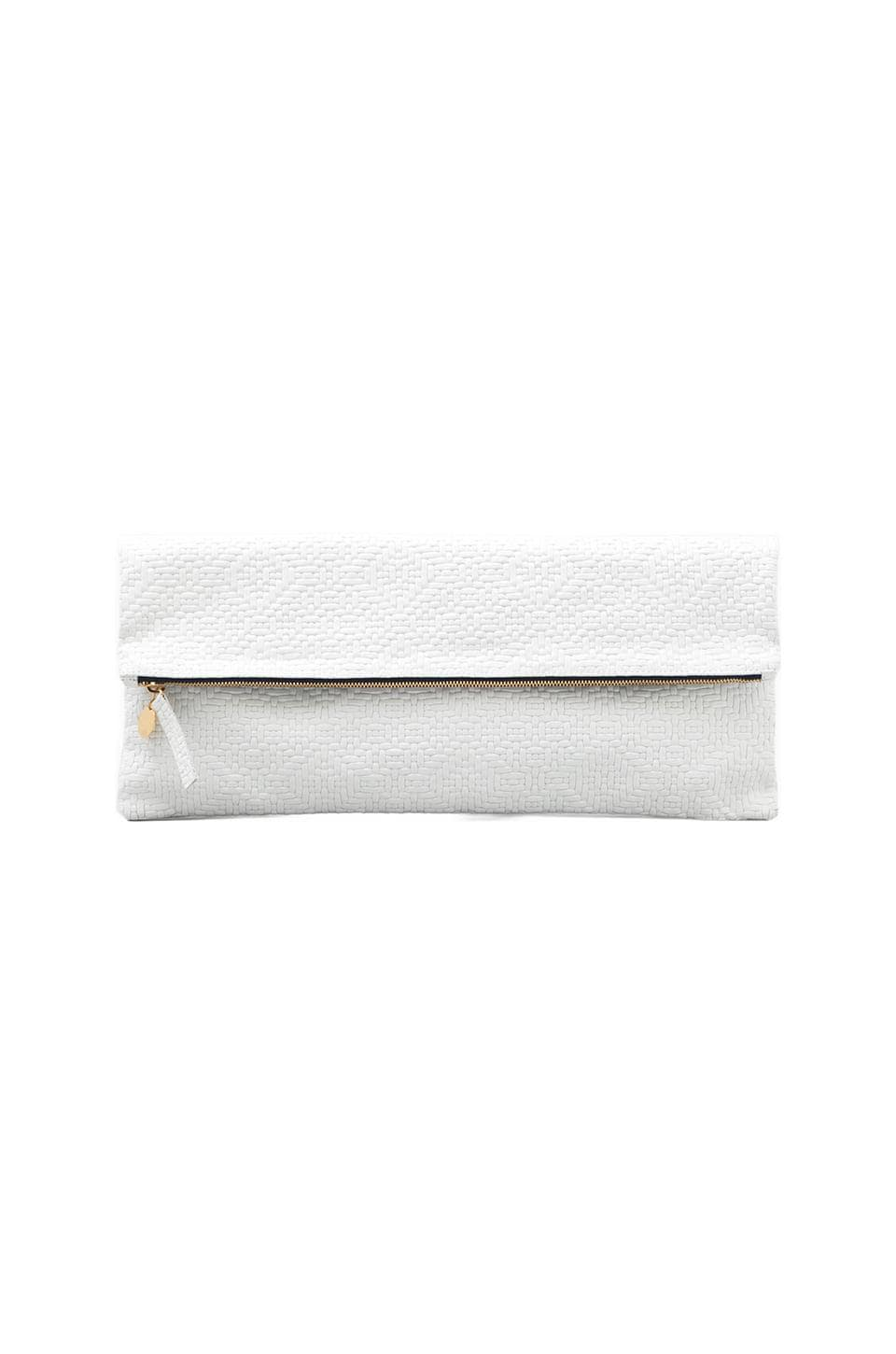Clare V. Laptop/Oversized Clutch in White Jigsaw