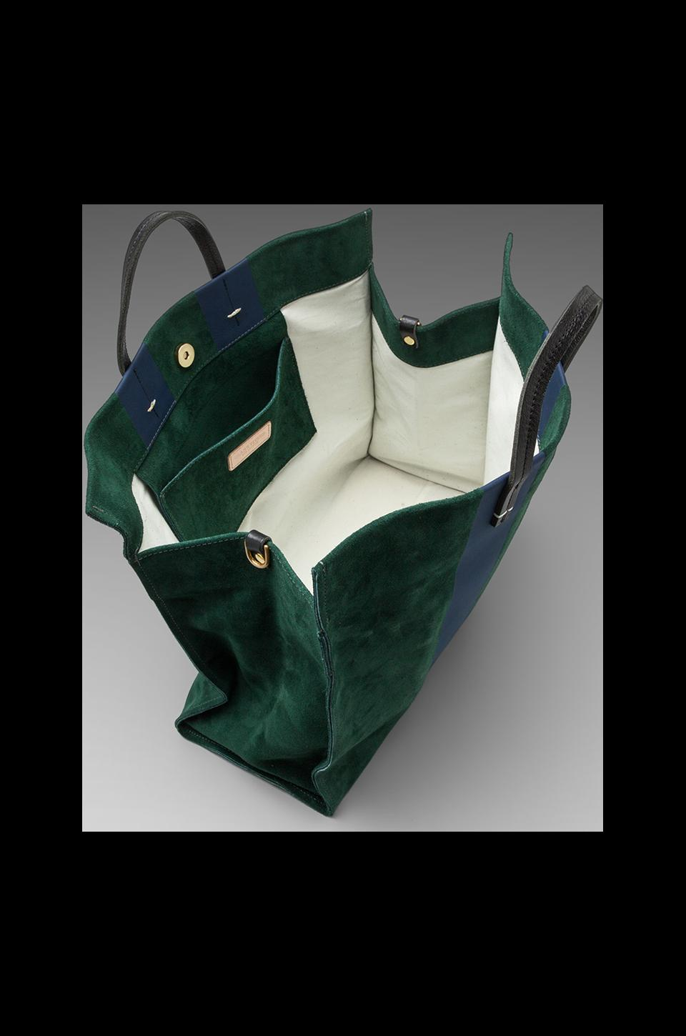 Clare V. Simple Tote in Forest Green/Navy