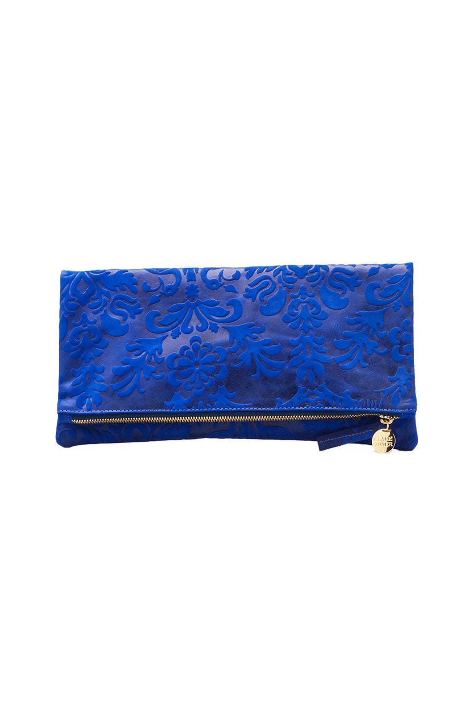 Clare V. Foldover Clutch Brocade in Royal Blue