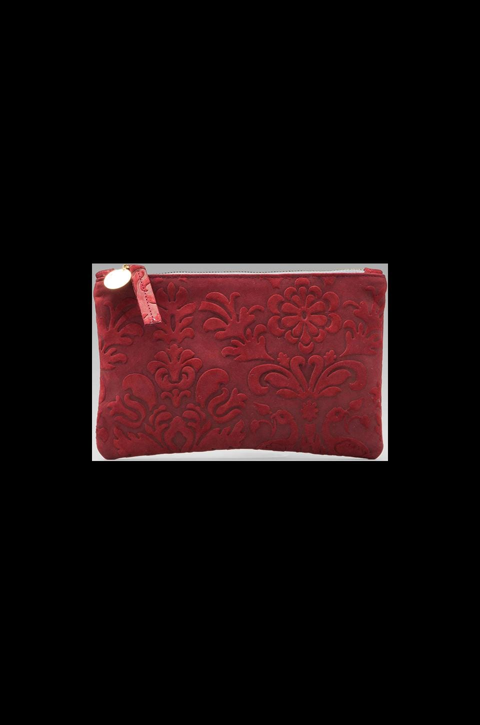 Clare V. Wallet Clutch in Burgundy Brocade