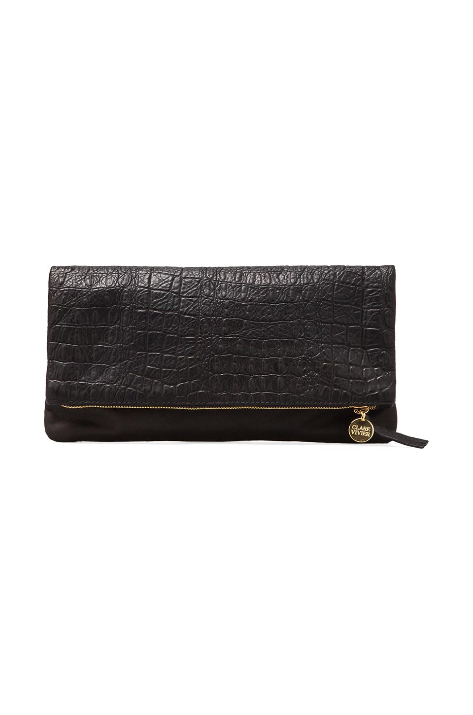 Clare V. Foldover Clutch in Black