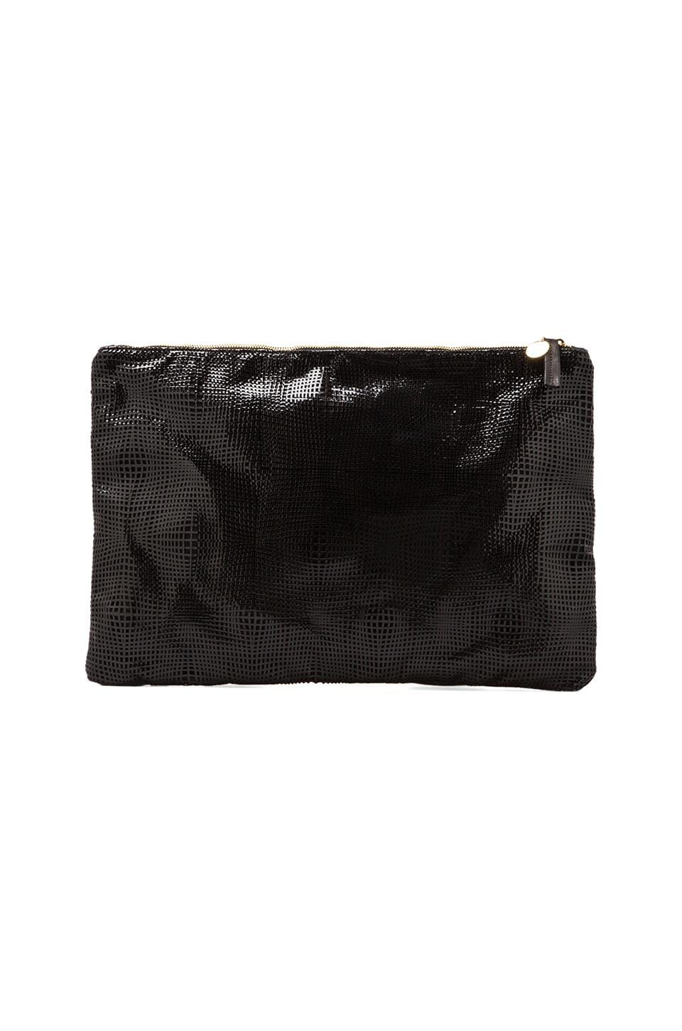 Clare V. Laptop/Oversized Clutch in Black Laser Patent
