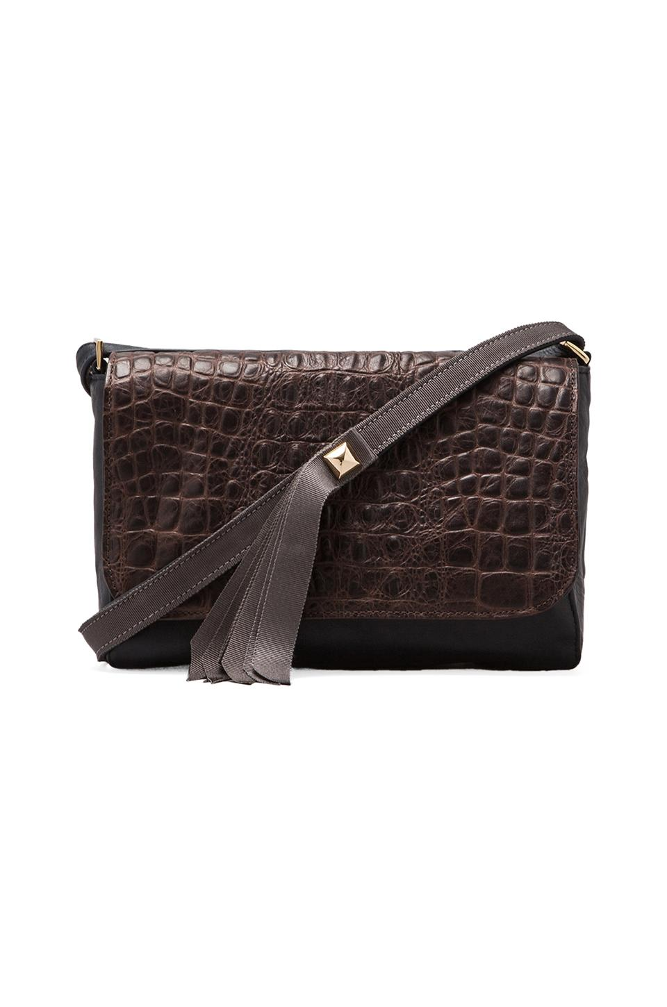 Clare V. Louise Shoulder Bag in Chocolate/Navy