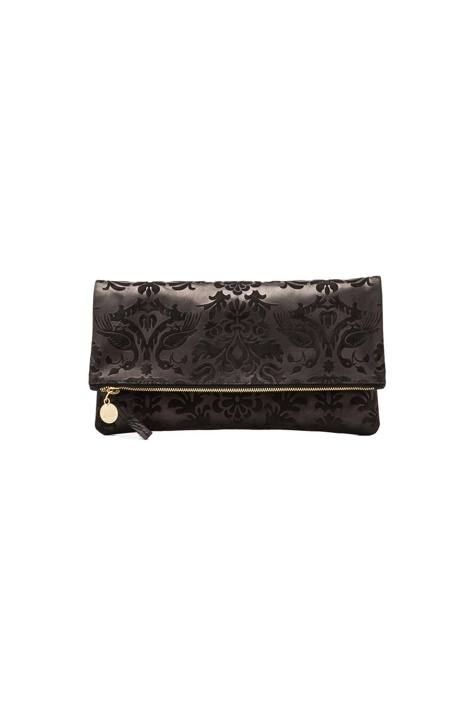 Clare V. Foldover Clutch in Black Brocade