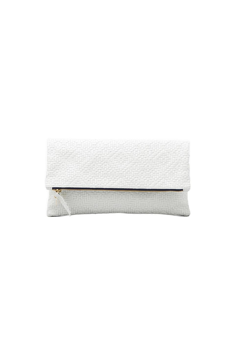 Clare V. Foldover Clutch in White Jigsaw