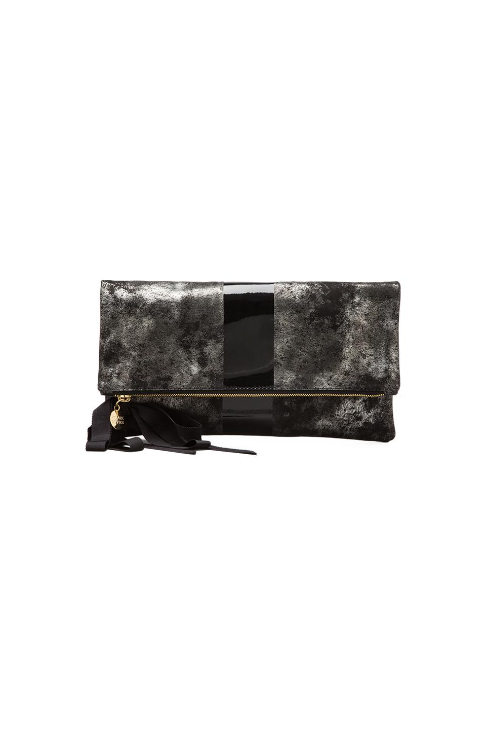Clare V. Foldover Clutch in Black/Pewter