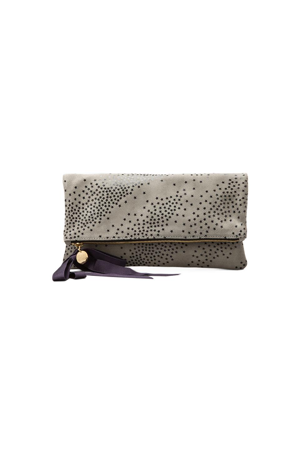 Clare V. Foldover Clutch Suede in Star Print Dark Grey