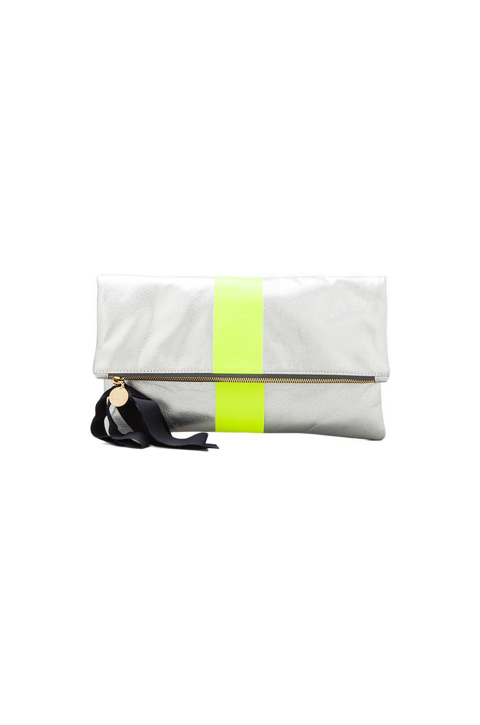 Clare V. Foldover Clutch Stripe in Silver & Neon Yellow