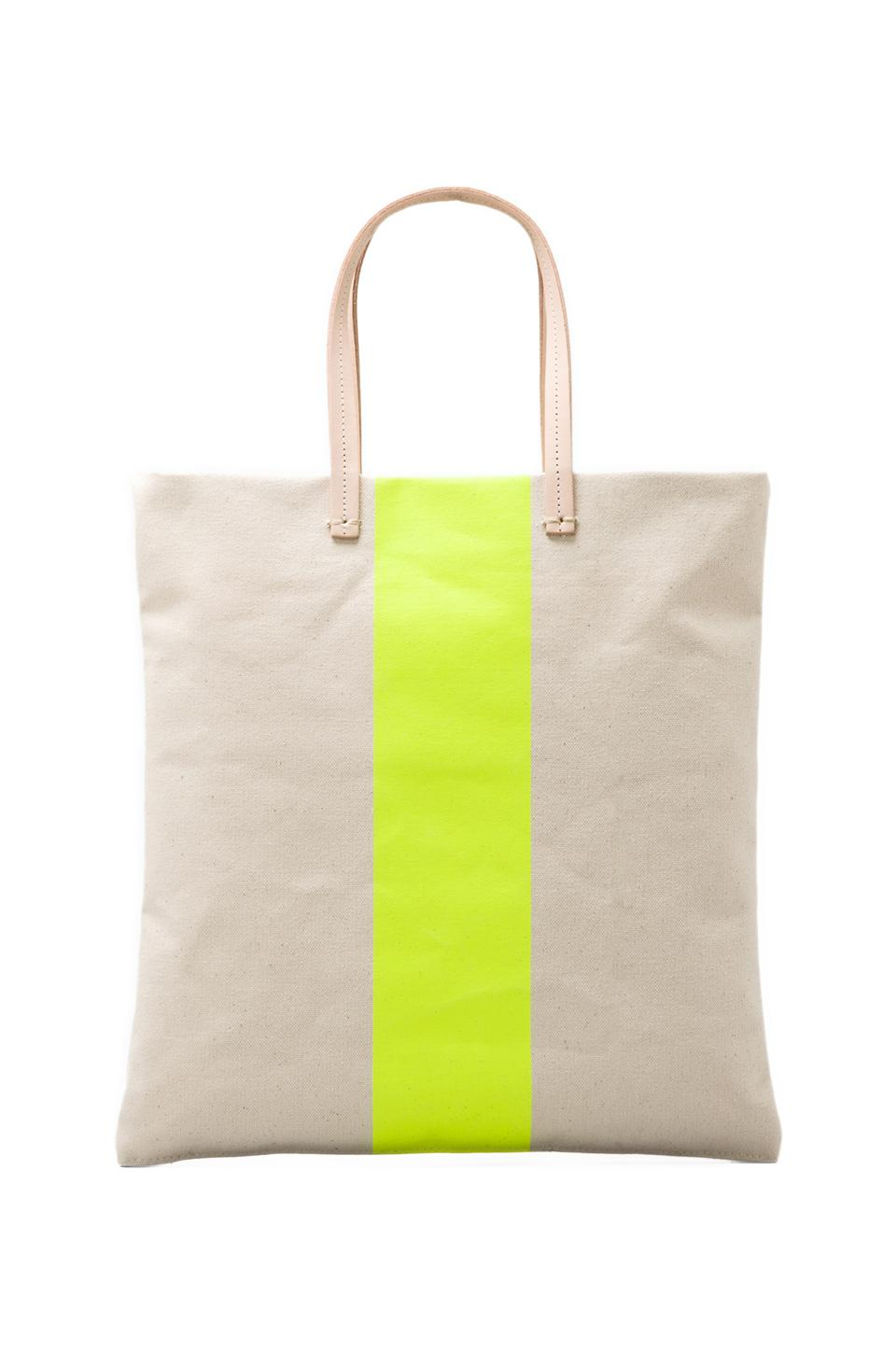 Clare V. Canvas Carry All Tote in Neon Yellow Stripe