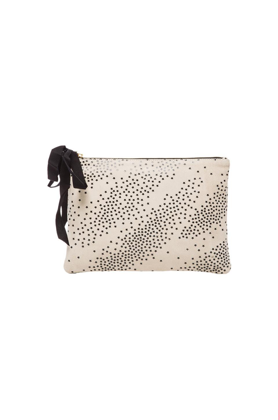 Clare V. Flat Clutch in Cream Star Print