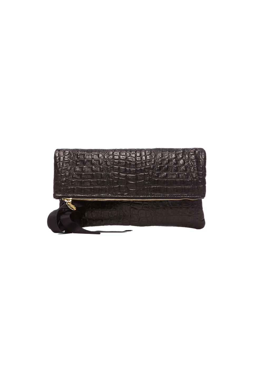 Clare V. Foldover Clutch in Black Croco