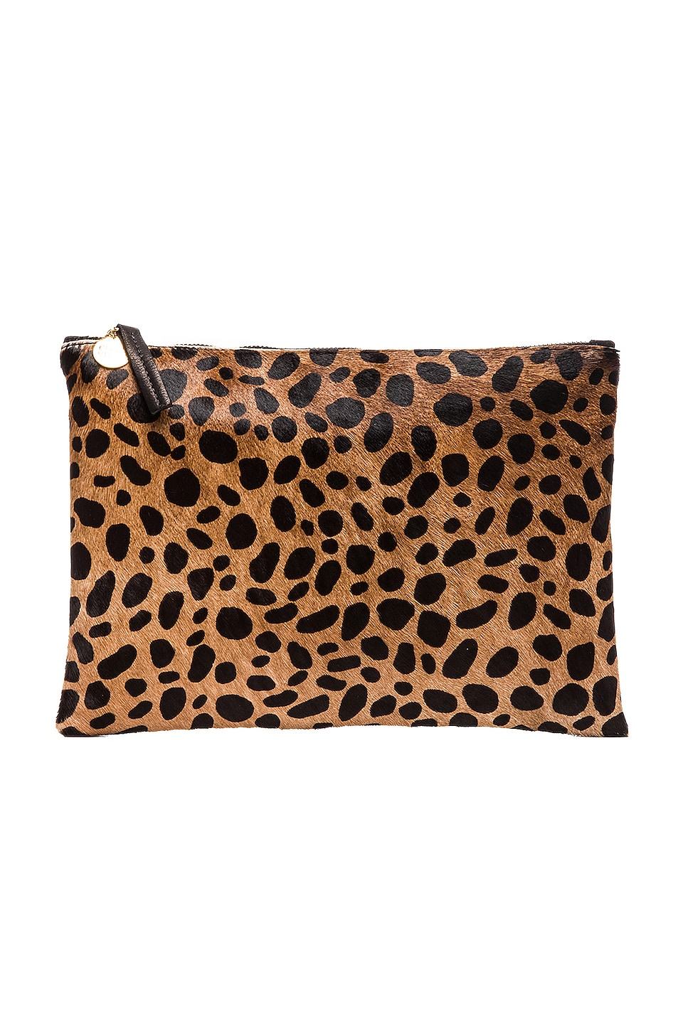 Clare V. Flat Calf Hair Clutch in Leopard