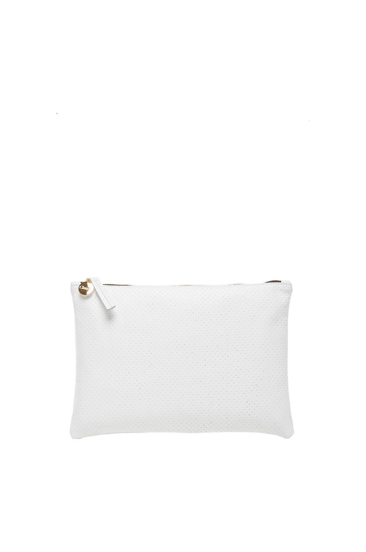 Clare V. Flat Clutch in White Semi Perf