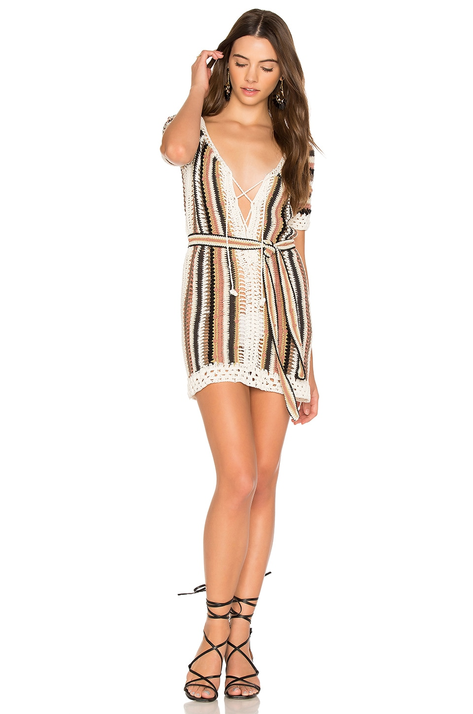 Cleobella Bardot Short Dress With Sash in Multi