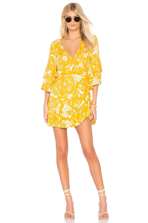 X REVOLVE Bonita Wrap Dress in Mustard. - size M (also in S,XS) Cleobella