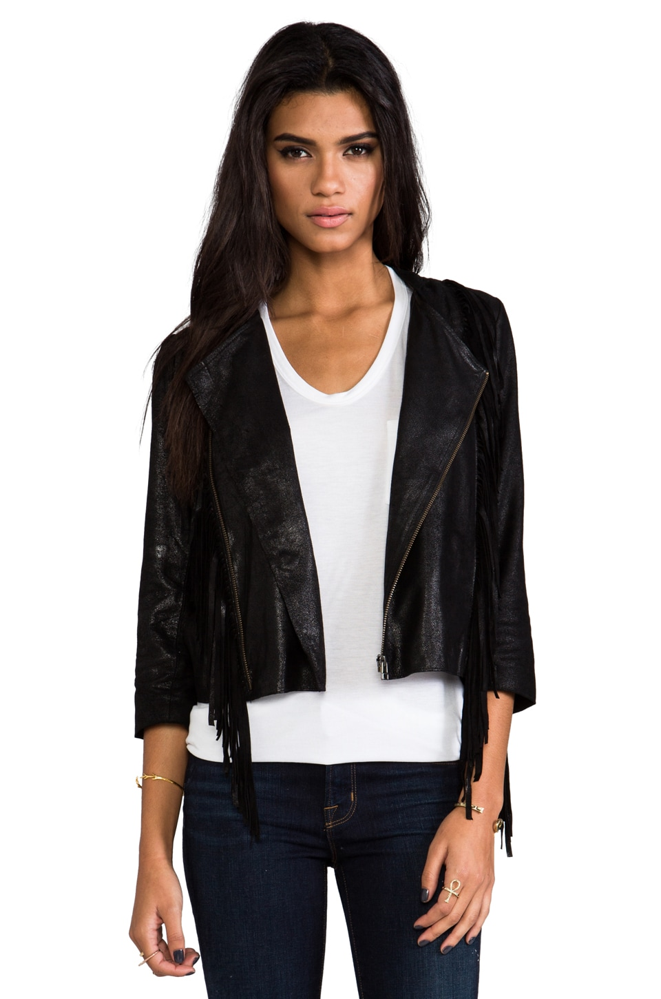 Cleobella Fringe Leather Jacket in Black