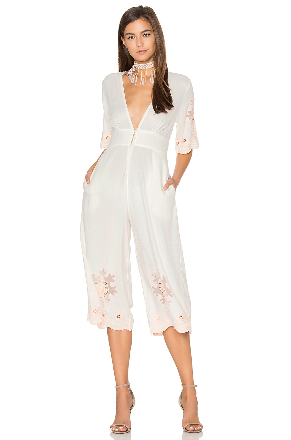 Cleobella Eve Jumpsuit in Ivory & Blush