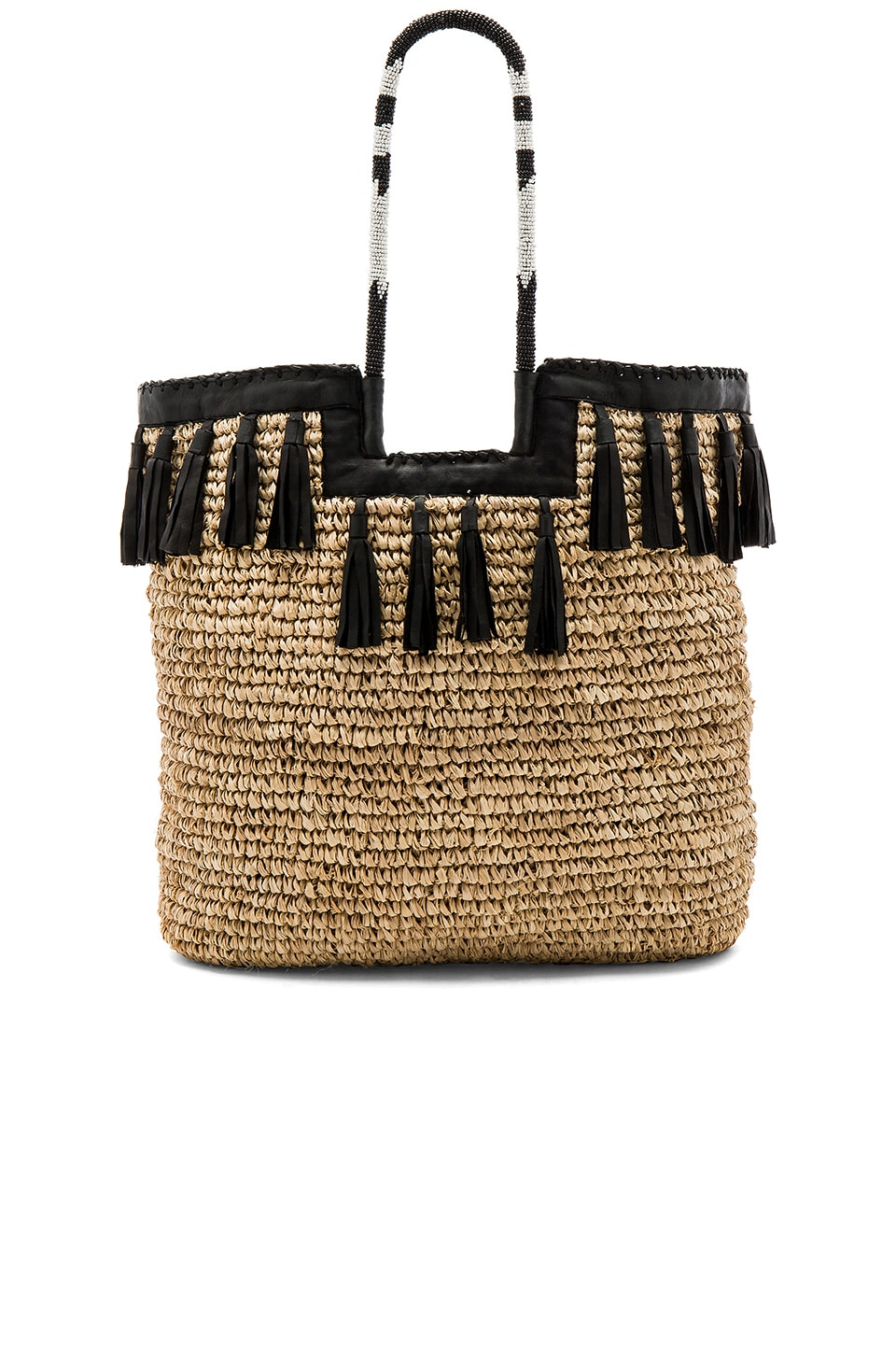Woven raffia tote bag with tassel detailing