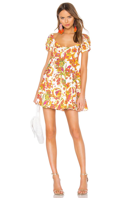 Caroline Constas Dina Mini Dress in Saffron Multi