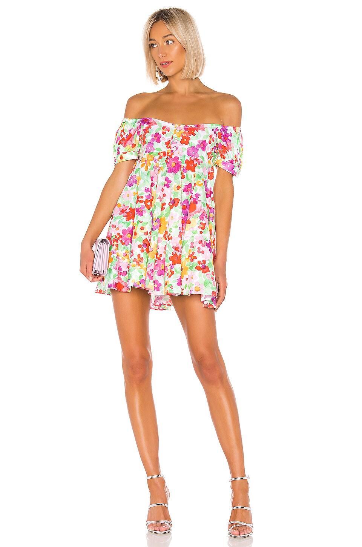 Caroline Constas Dina Mini Dress in White Multi