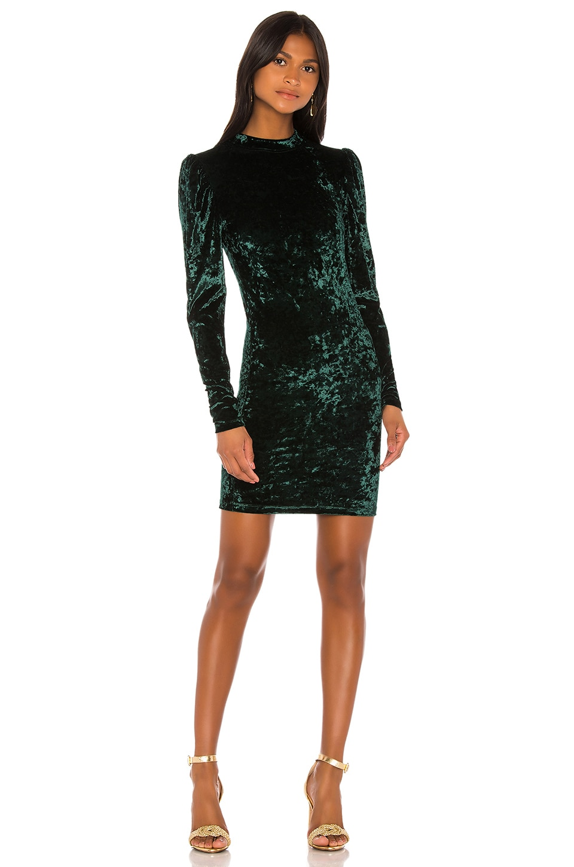 Caroline Constas Lulu Velvet Mini Dress in Emerald
