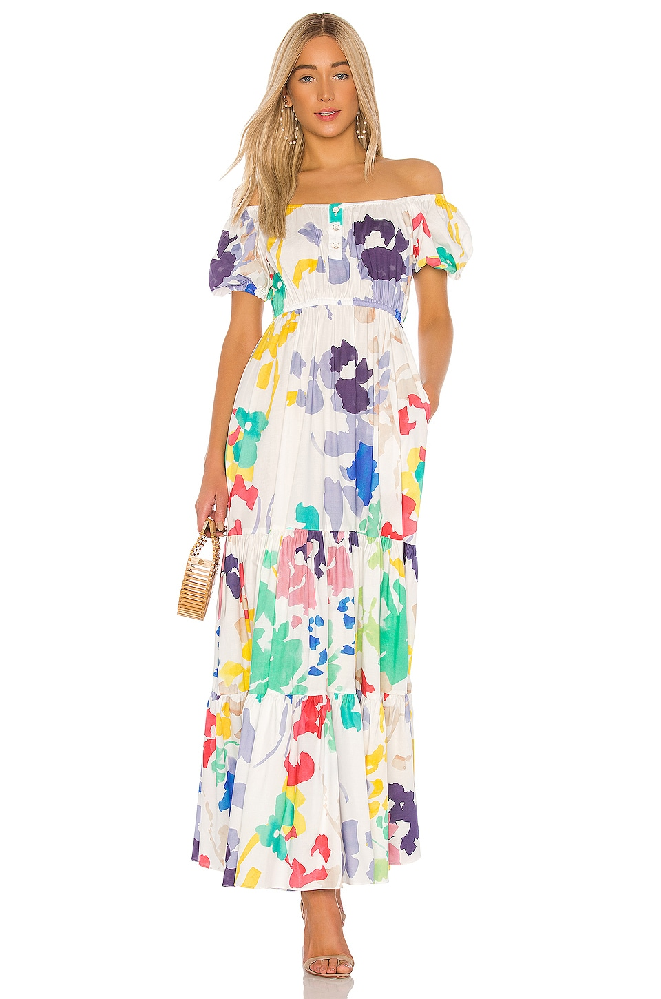 Caroline Constas Bardot Maxi Dress in White Multi