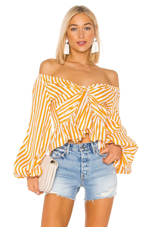 Caroline Constas Onira Top in Orange Stripe