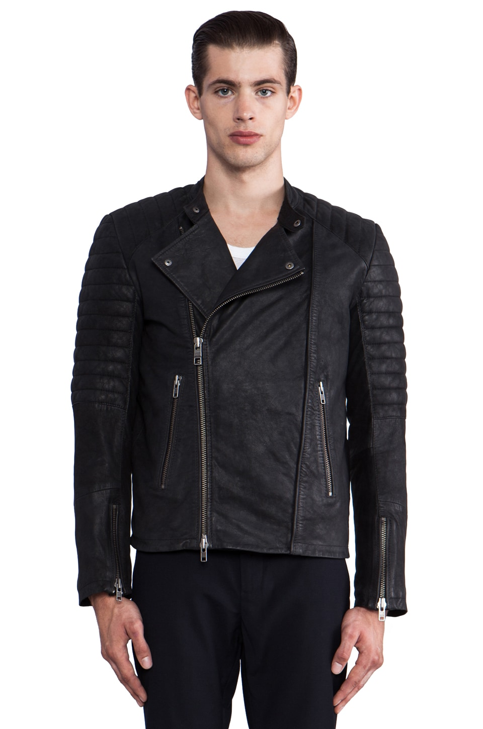 Closed Leather Moto Jacket in Black