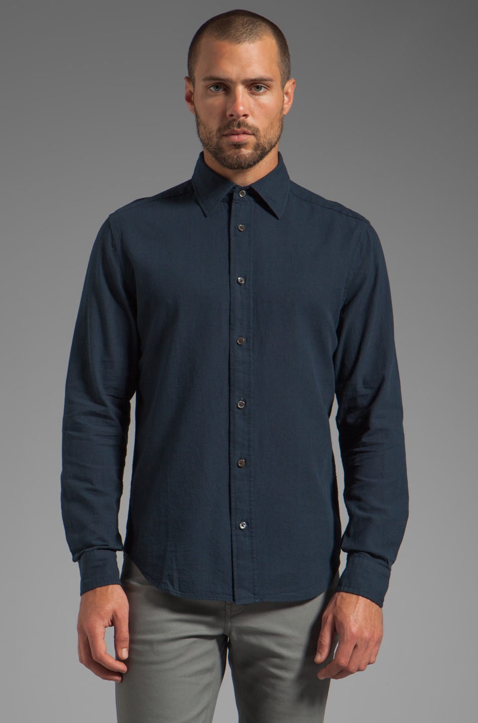 Closed Gilbert Soft Chambray Shirt in Black Iris
