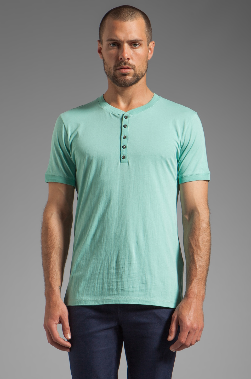 Closed Short Sleeve Henley Light Jersey Tee in Soft Mint