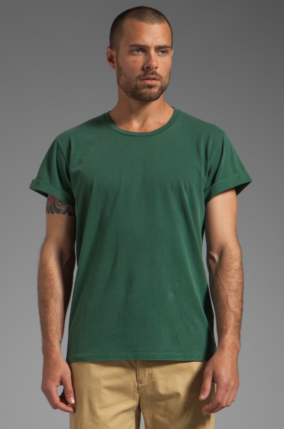Closed Short Sleeve Jersey Tee in Dark Emerald