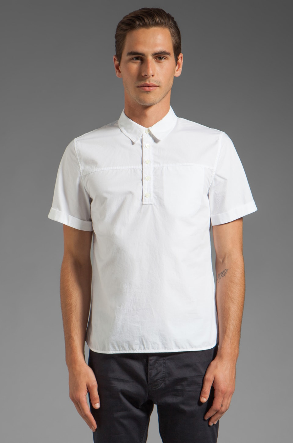 Closed Palmdale Poplin Shirt in White/Beige