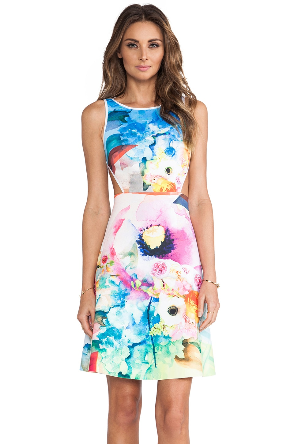 Clover Canyon Fluorescent Rose Cut Out Neoprene Dress in Multi